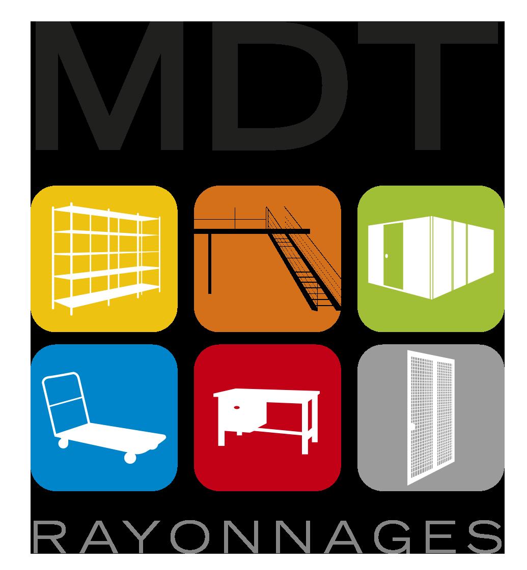 Logo MDT Rayonnage, spécialiste de l'aménagement de l'espace entreprise.